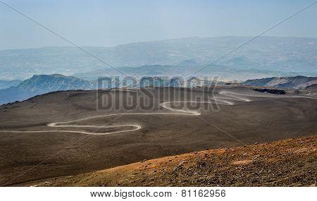 Serpentine road to the top of Mount Etna volcano