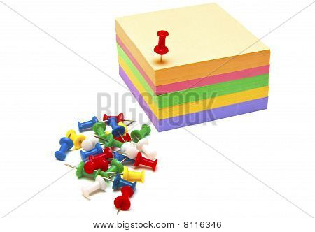 stacks colourful sticky paper of office and paper clips poster