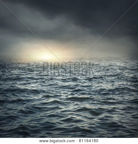 The stormy sea, abstract dark background.