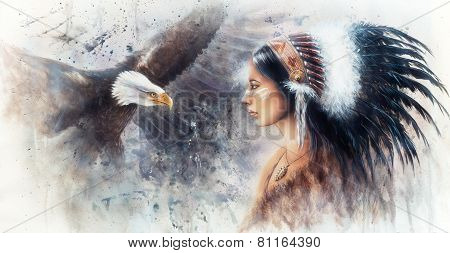 Beautiful Airbrush Painting Of A Young Indian Woman Wearing A Gorgeous Feather Headdress, With An Im