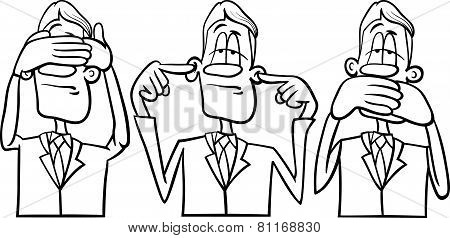 Black and White Cartoon Humor Concept Illustration of See no Evil Hear no Evil Speak no Evil Saying or Proverb poster