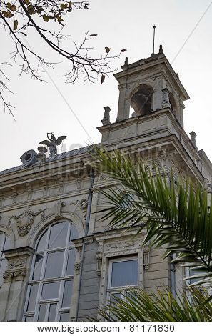 Fragment of ancient building with rich decoration in center of Ruse town, Bulgaria   from 1897 year