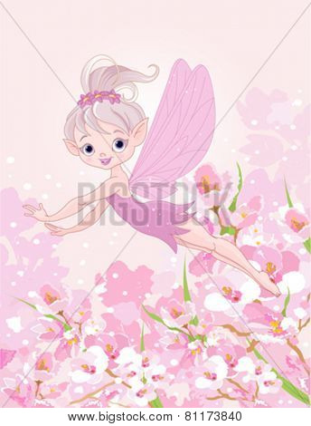 Illustration of cute Pixy fairy flying