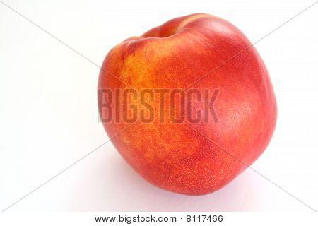 One Fresh Nectarine On White Background