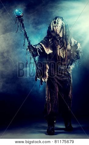 Ancient shaman warrior. Ethnic costume. Paganism, ritual. poster