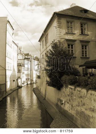Ship canal in historical quarter on Kampa, Mala Strana, Prague, Czech Republic