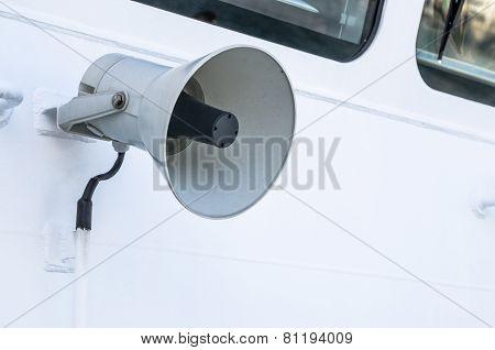Megaphone Of A Speaker Phone On A Vessel, A Close Up