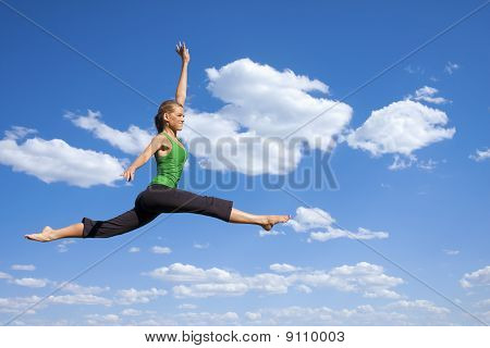 Dancing and Jumping Woman