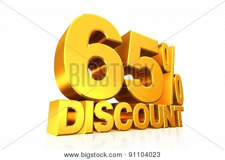 3D render gold text 65 percent discount on white background with reflection. poster
