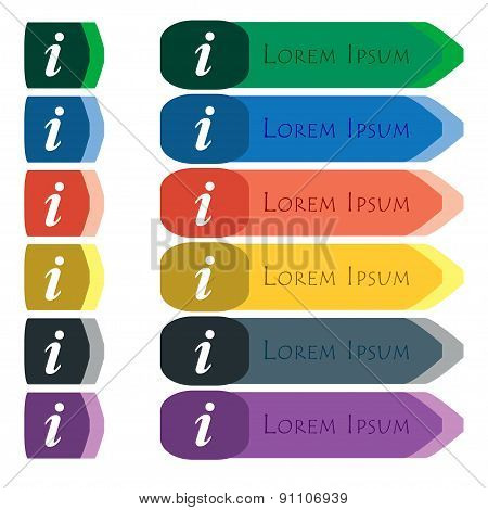 Information, Info  Icon Sign. Set Of Colorful, Bright Long Buttons With Additional Small Modules. Fl