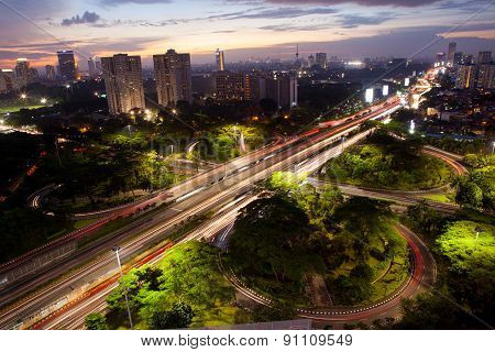 Night shot city of Jakarta in Indonesia Asia