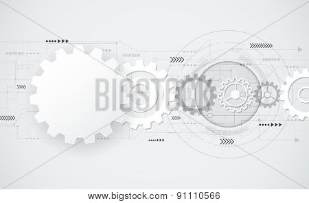Vector Abstract Futuristic - Gear Wheel Engineering On Circuit Board