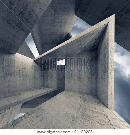 Abstract Architecture, Empty Concrete Interior 3D