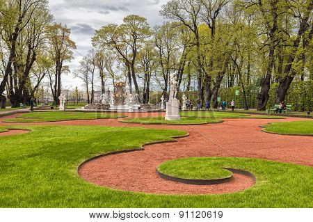Summer garden in Saint Petersburg Russia, spring poster