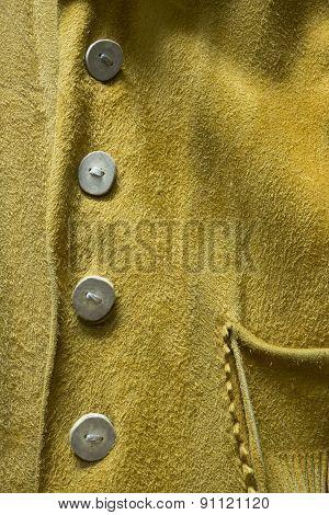 Buckskin Leather Cowboy Coat with Unique Buttons