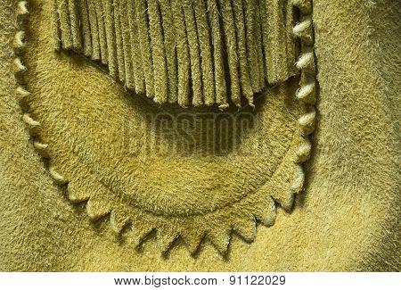 Buckskin Leather Cowboy Coat Detail