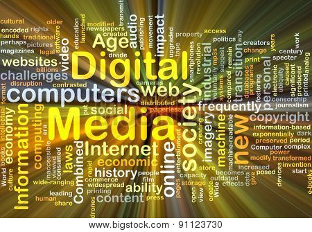 Background concept wordcloud illustration of digital media glowing light