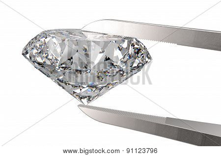 Diamond in tweezers isolated on a white back ground poster