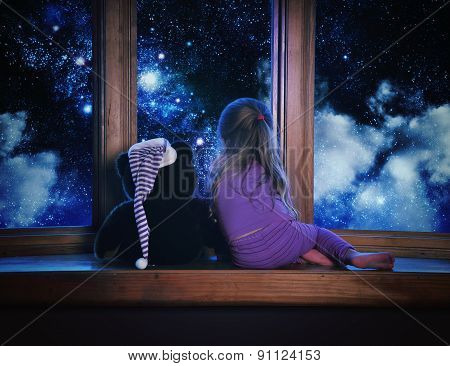 Child Looking At Space Dream In Window