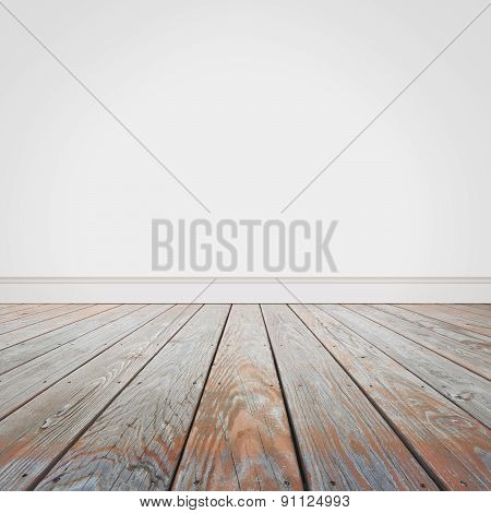 Blank White Wall And Wooden Old Floor Background