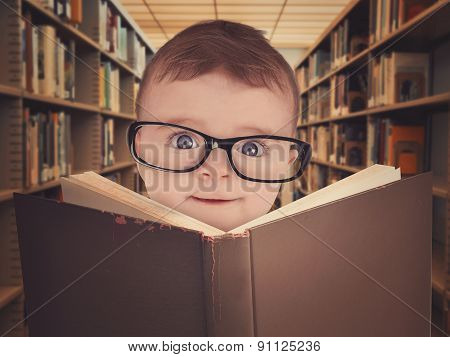Baby With Eye Glasses Reading Library Book