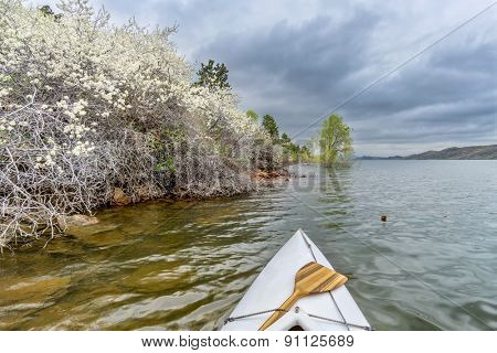 canoe bow with a wooden paddle on Horsetooth Rerservoir, springtime scenrry with blooming bushes