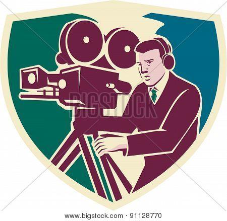 Cameraman Moviemaker Vintage Camera Shield