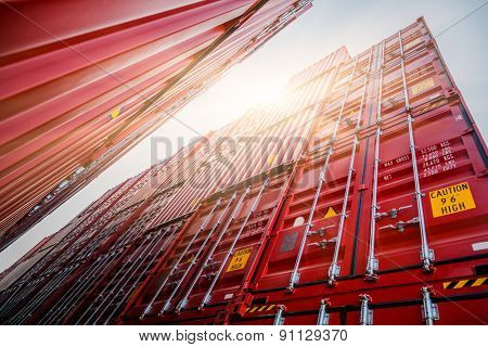 Cargo containers at harbor, shanghai china. poster