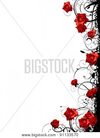 valentine vector with red roses