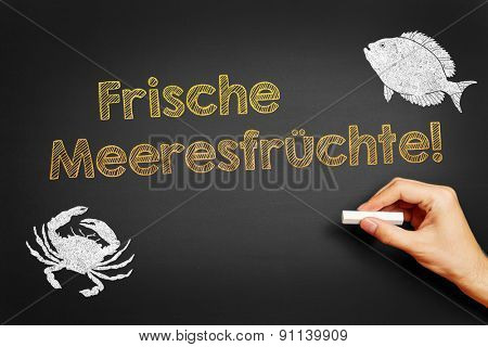 Hand with chalk writing in German