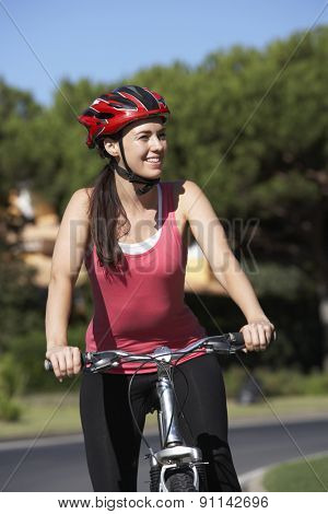 Woman On Cycle Ride