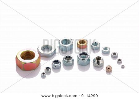 Varied Steel Nuts Isolated On White