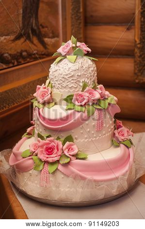 Wedding Cake With Luxury Decorated In Wedding Party