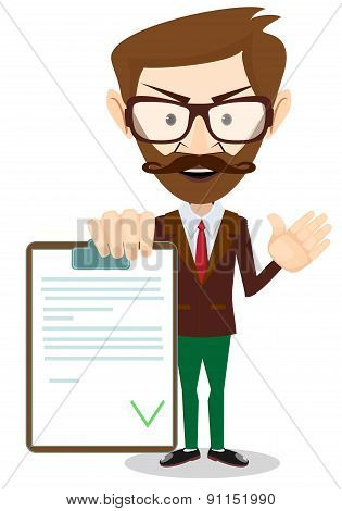 Man Holding a Document in Which All Approved. vector