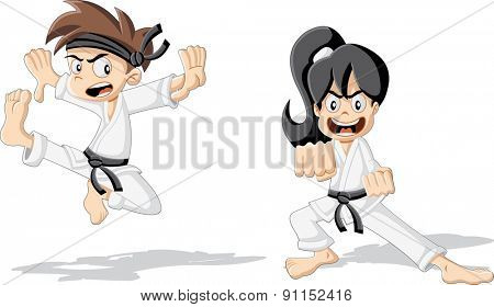 Cartoon karate kids wearing kimono training karate