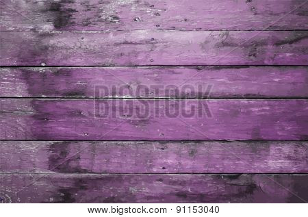 old dirty wooden wall, purple background, vector