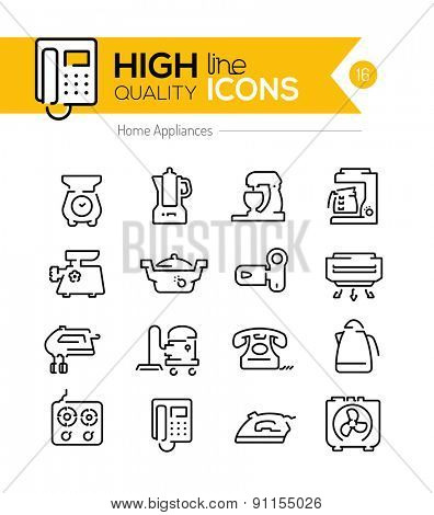 High Quality Home appliances line icons two