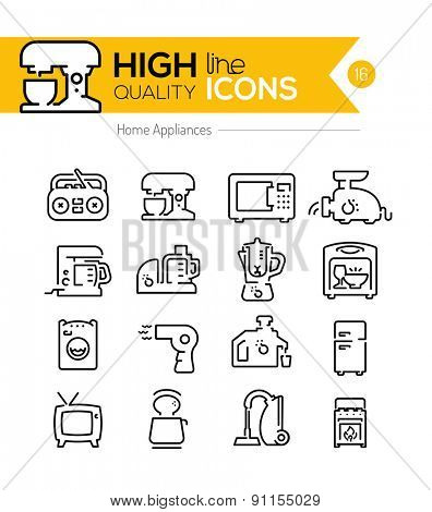 High Quality Home appliances line icons