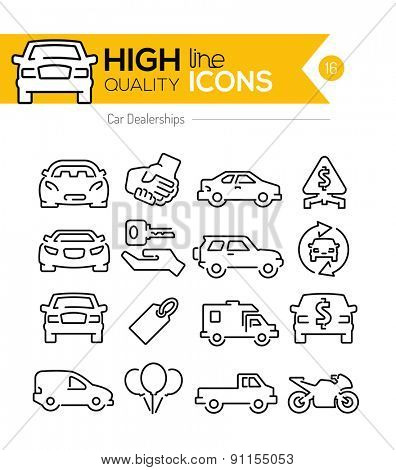 Car Dealerships line icons
