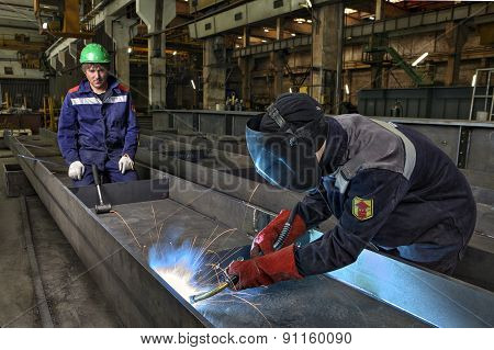 Worker Welder Manually Weld Steel Sheets Using Gas Torch, Mig.