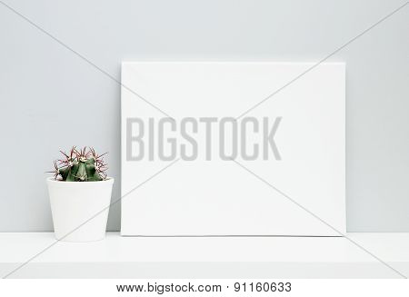 Hipster Scandinavian Design. Room Decoration. Mock Up. White Pot With Cactus