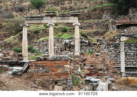 The ruins of an important building in Ephesus.
