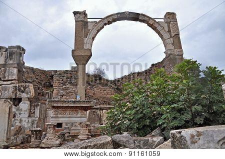 The remains of the Pollio Fountain at Ephesus