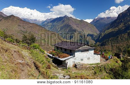 Beautiful Village And Dhaulagiri Himal