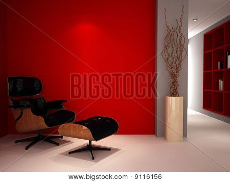 A Modern Classic Chair In A Luxury Red Study