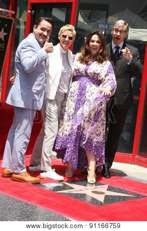 LOS ANGELES - MAY 19:  Ben Falcone, Ellen DeGeneres, Melissa McCarthy, Ben Feig at the Melissa McCarthy Hollywood Walk of Fame Ceremony at the TCL Chinese Theater on May 19, 2015 in Los Angeles, CA