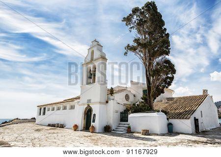 Old Greek Christian Orthodox church Vlacherna, Kanoni in Kerkyra, Corfu, Greece