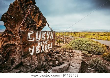entrance and signboard to Cueva de los Verdes Cave, Lanzarote, Canary Islands, Spain poster