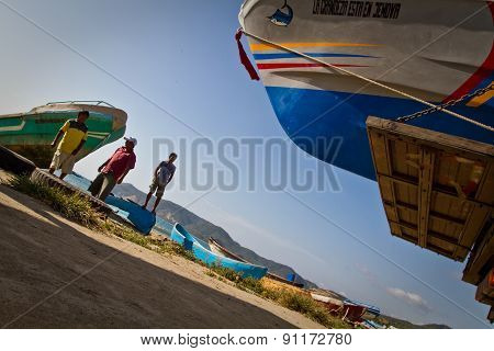 Unidentified local fishermen, Puerto Lopez, popular vacation spot in the coast of Ecuador