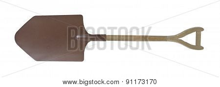 Large Brown Metal Shovel With Wooden Handle